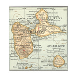 Plate 118. Inset Map of Guadeloupe (French) Giclée-Druck von  Encyclopaedia Britannica