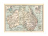 Plate 50. Map of Australia. Insets of Melbourne and Port Phillip Giclée-Druck von  Encyclopaedia Britannica