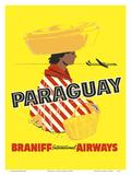 Paraguay - South America - Braniff International Airways Plakat af  Pacifica Island Art