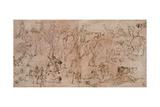 Studies of Warriors, Horsemen, and Lions, 1528-33 Giclée-Druck von Perino Del Vaga