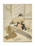 Descending Geese of the Koto Bridges (Kotoji No Rakugan), C.1766 Giclee Print by Suzuki Harunobu