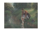 Woman Bathing Her Feet in a Brook, 1894-95 Reproduction procédé giclée par Camille Pissarro