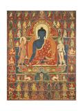 Painted Banner (Thangka) with the Medicine Buddha (Bhaishajyaguru), 14th Century Lámina giclée