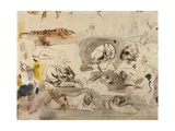Sketches of Tigers and Men in 16th Century Costume, 1828-29 Giclee Print by Eugene Delacroix