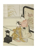The Autumn Moon in the Mirror (Kyodai No Shugetsu), C.1766 Giclee Print by Suzuki Harunobu