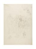 A Group of Men, and Other Sketches, 1857 Reproduction procédé giclée par Honore Daumier