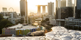 Elevated View over the Entertainment District of Clarke Quay, Singapore River and City Skyline Fotografie-Druck von Peter Adams