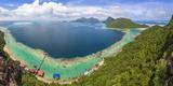 View from Tropical Island of Tun Sakaran Marine Park, Celebes Sea, Nr Semporna, Sabah, Borneo Fotografie-Druck von Peter Adams