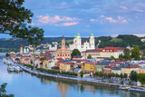 Elevated View Towards the Picturesque City of Passau at Sunset, Passau, Lower Bavaria Photographic Print by Doug Pearson