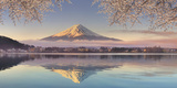 Japan, Yamanashi Prefecture, Kawaguchi Ko Lake and Mt Fuji Reproduction photographique par Michele Falzone