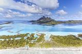 Aerial View of Bora Bora Island with St Regis and Four Seasons Resorts, French Polynesia Fotografisk trykk av Matteo Colombo