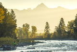 Fly Fisherwoman and Fisherman Casting and Fishing on River, British Colombia, B.C., Canada Fotografie-Druck von Peter Adams