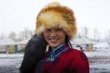 Barag Mongolian woman in traditional costume, Hulunbuir, Inner Mongolia Region, China Lámina fotográfica