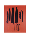 Knives, c. 1981-82 (Red) Poster di Andy Warhol