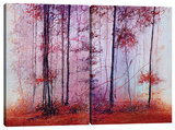 Red Foggy Forest (Diptych) Stretched Canvas Print by Michael Romero