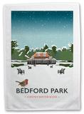 Bedford Park, Bedford, A Snowy Scene Tea Towel Novelty
