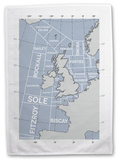 The Shipping Forecast Regions Map Tea Towel Novelty
