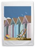 Beach Huts 2 Tea Towel Novelty