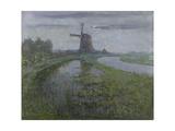Mill Along the River Gein by Moonlight Poster par Piet Mondriaan