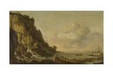 Felsige Küste Kunstdruck von Simon de Vlieger