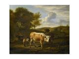 Hilly Landscape with Cows Kunstdruck von Adriaen van de Velde