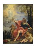 Saint John the Evangelist on Patmos Kunst af Carlo Maratti