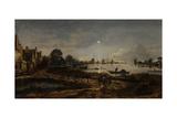 River View by Moonlight Poster by Aert van der Neer