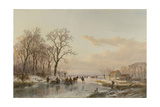Frozen Canal Near the River Maas Art by Andreas Schelfhout