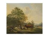 Hilly Landscape with Shepherd, Drover and Cattle Kunstdrucke von Pieter Gerardus van Os
