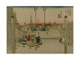 The Bridge Nihonbashi in Tokyo with Merchants Who Were Carrying Them Prints by Utagawa Hiroshige