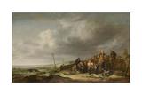 Beach with Fishermen Kunstdruck von Simon de Vlieger