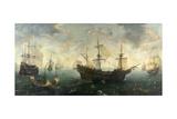 Spanish Armada Off the English Coast Kunstdrucke von Cornelis Claesz Van Wieringen