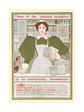 Three of the Greatest Requisites of an Enterprising Housekeeper - Copco, Cottolene Premium gicléedruk van Maxfield Parrish