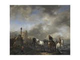 Watering Horses Near a Boundary Marker Poster by Philips Wouwerman