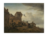 Fighting Peasants Near a Village Prints by Philips Wouwerman