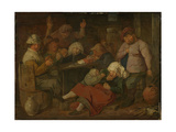 Peasant Drinking About Posters tekijänä Adriaen Brouwer