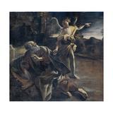 Prophet Elijah in the Desert Awakened by an Angel Plakater af Giovanni Lanfranco