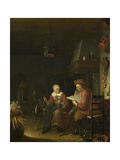 Man Reading and a Woman Spinning Yarn Poster von Domenicus van Tol