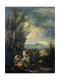 Landscape with a Carthusian Hermit, Perhaps Saint Bruno Plakater af Alessandro Magnasco