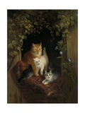 Cat with Kittens, Henritte Ronner Poster by Henriette Ronner
