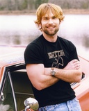 Seann Scott in Black Shirt and Denim Jeans Portrait Photo by  Movie Star News