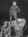 Calamity Jane standing Man and sitting Man in Black and White Photo by  Movie Star News