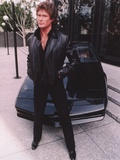 David Hasselhoff standing in Black Leather Jacket with Black Pants and Black Shoes Foto von  Movie Star News
