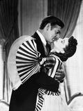 Gone With The Wind Scarlett O'Hara and rhett butler Kissing Scene Black and White Foto von  Movie Star News