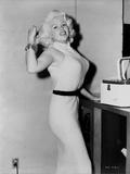 Jayne Mansfield Posed in White Keyhole-Neck Sleeveless Silk Dress and Black Waist Belt Photo by  Movie Star News