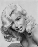 Jayne Mansfield Close Up Portrait in White Strapless Dress with Curly Hair in White Background Photo by  Movie Star News