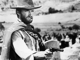 Clint Eastwood Posed in Cowboy Attire with Pistol Foto af  Movie Star News
