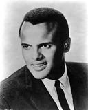 Harry Belafonte in Black Suite With Black and White Photo by  Movie Star News