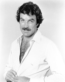 Magnum Pi Posed in White Polo with Hairy Chest Photo by  Movie Star News
