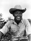 Sidney Poitier Posed in White Shirt With Hat Foto af  Movie Star News